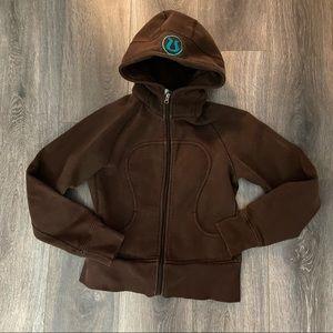 Lululemon Brown Zip Up Hoodie with Teal Logo